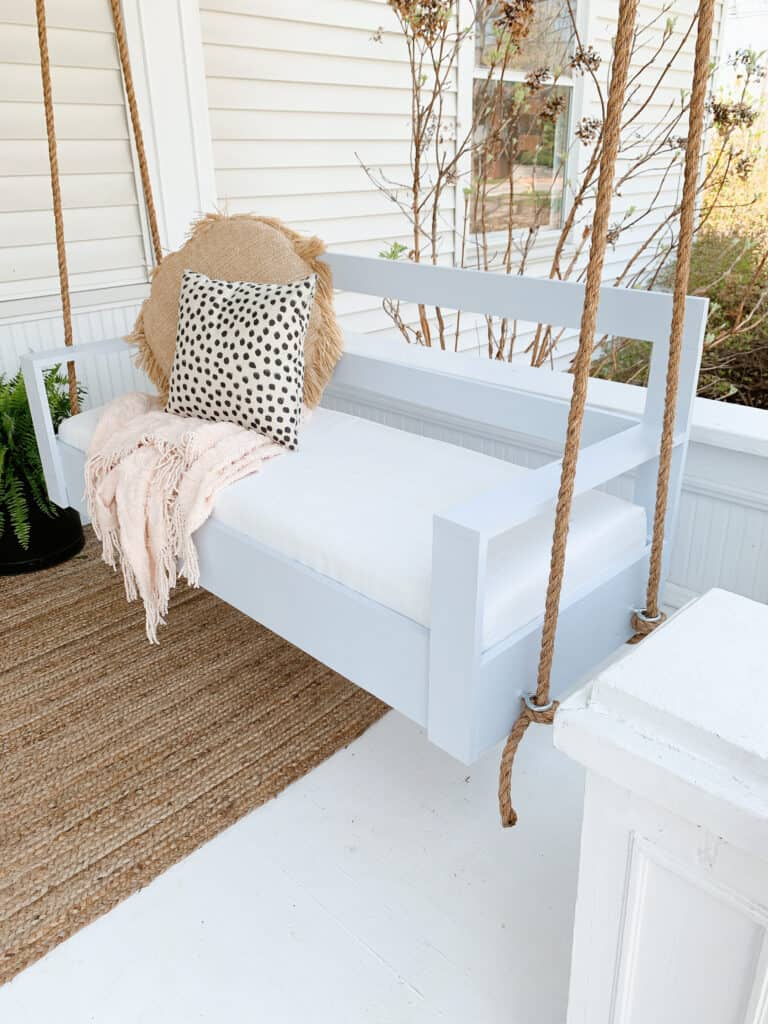 DIY porch swing in light blue grey