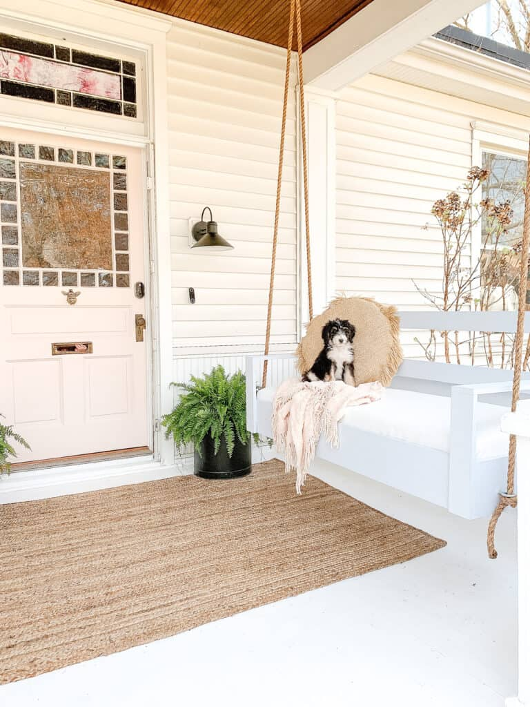 DIY porch swing with bernedoodle puppy on it.