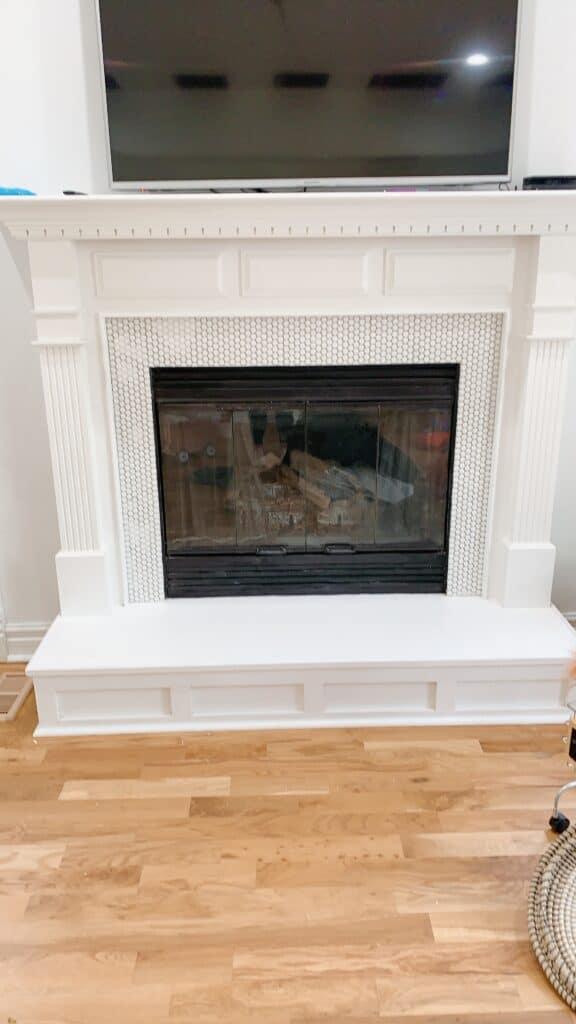 diy penny tile fireplace