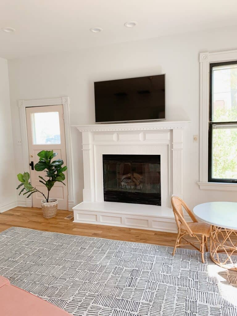 fireplace with penny tile