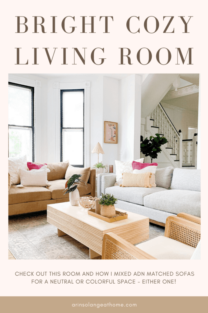 bright and colorful living room  with Jonathan Louis Furniture