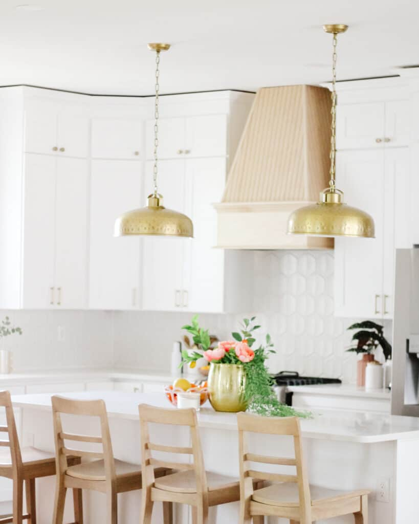 white kitchen with light wood accents