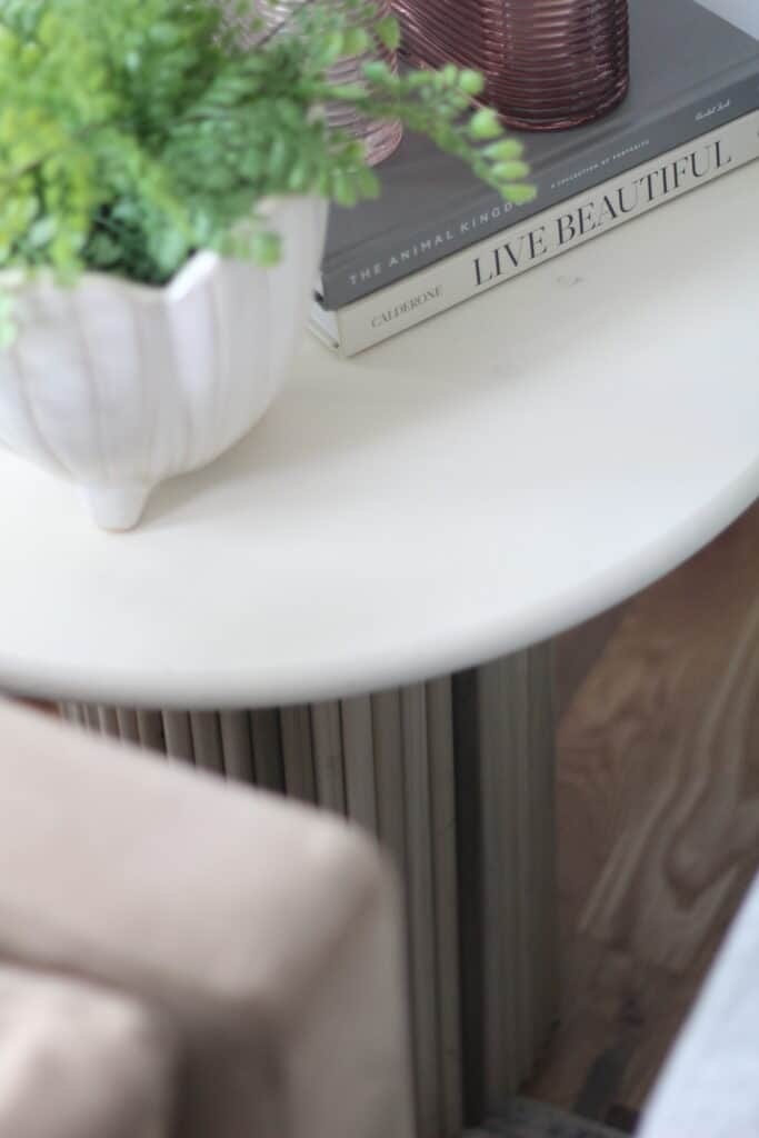 DIY side table with fluted base