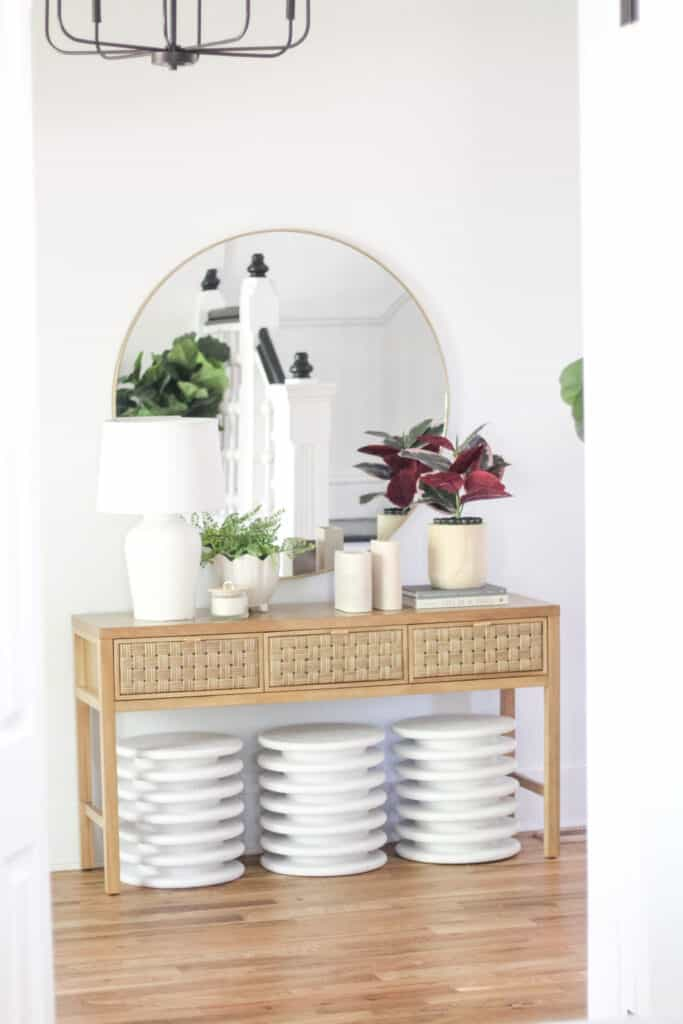 front entryway with modern decor and diy stools