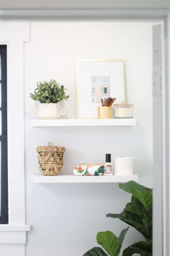 open shelving in a powder room