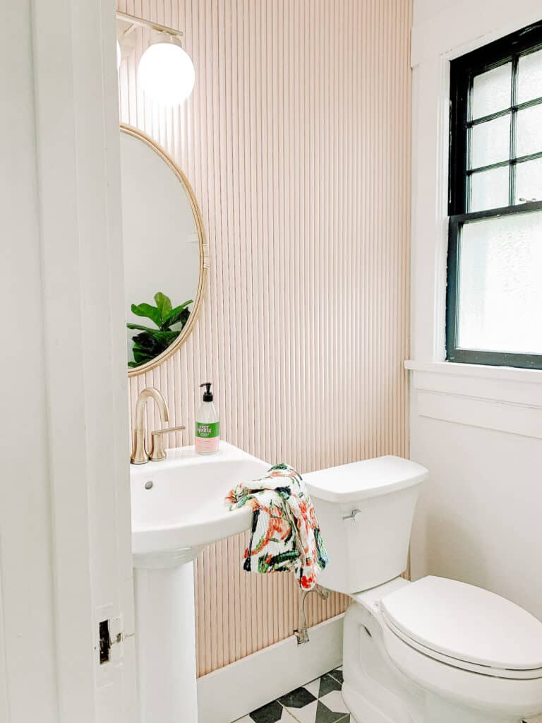 pink PVC pipe fluted wall