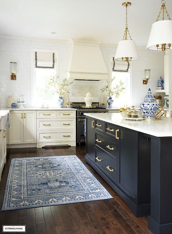 blue rug in a kitchen