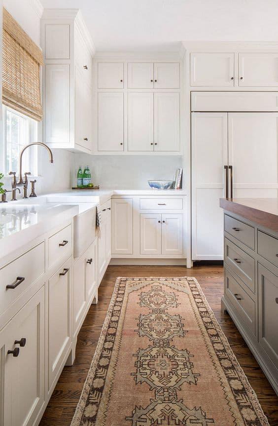 white kitchen with rug runner