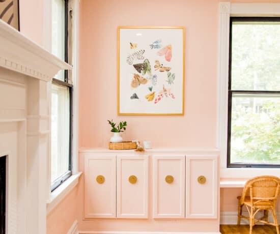 pink playroom with moth art print