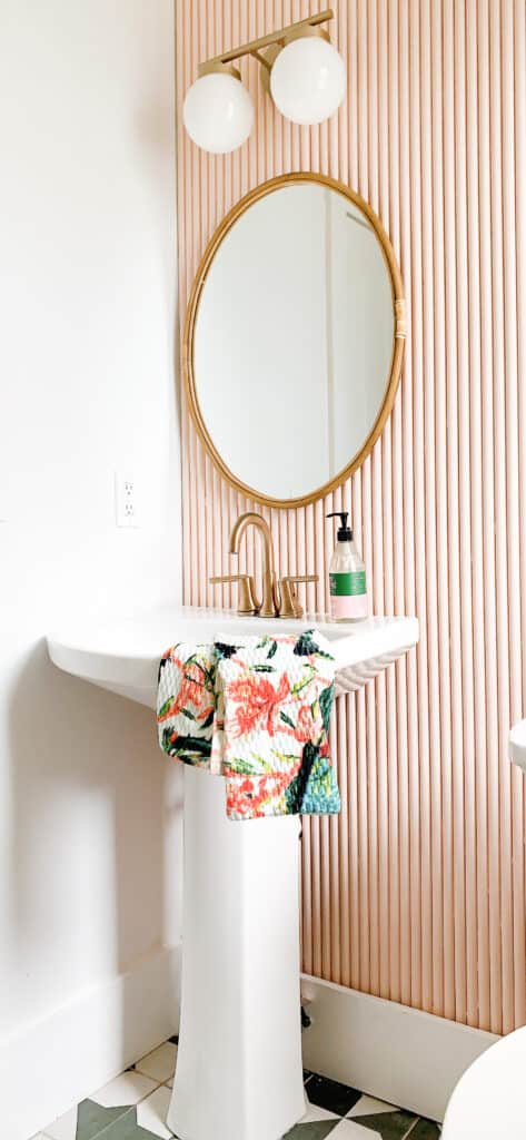 DIY pink Fluted wall from PVC Pipe