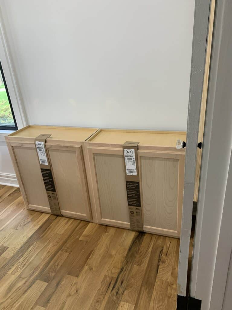stock cabinets lined up for use in DIY