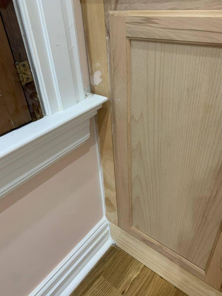 caulk on DIY Built in Cabinets