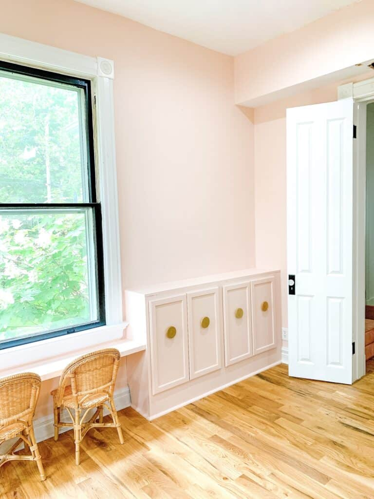 pink diy built in cabinets