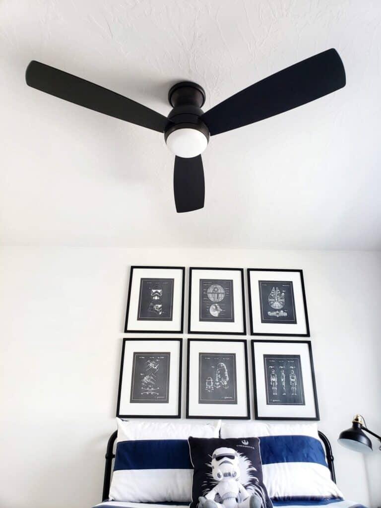 Bedroom with black ceiling fan