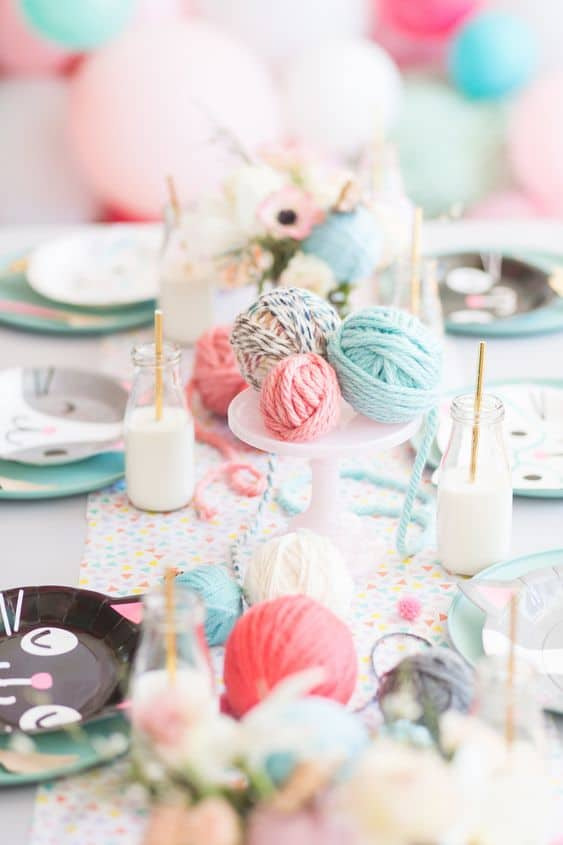 kitten themed birthday party tablescape