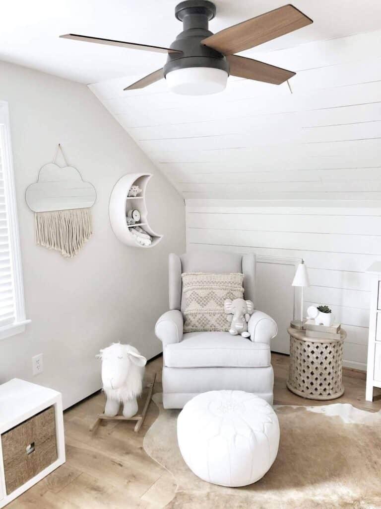 ceiling fan in modern neutral nursery