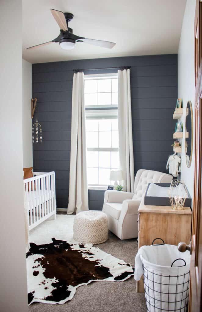 blue nursery with fan