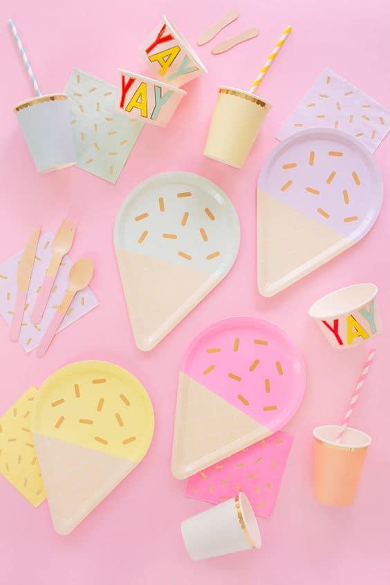 ice cream plates for birthday