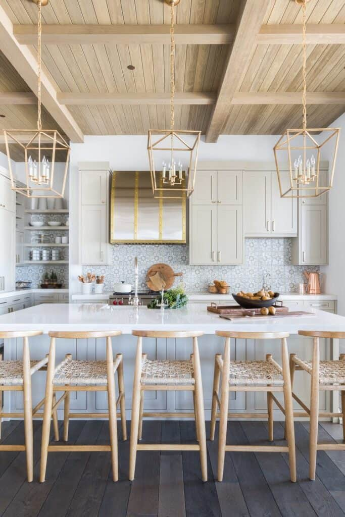 natural kitchen with wood ceiling