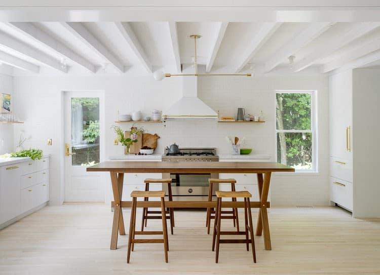 white exposed beams in white kitchen