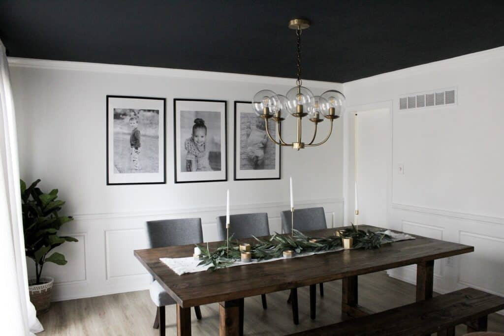 Dining room with dark ceiling