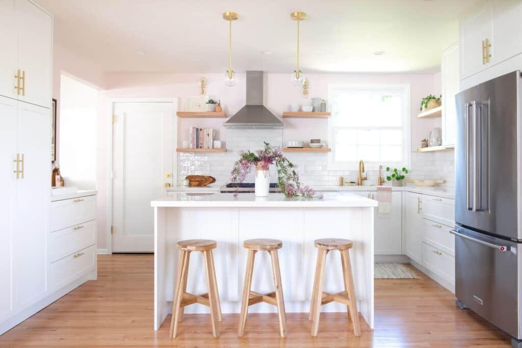 blush pink and white kitchen