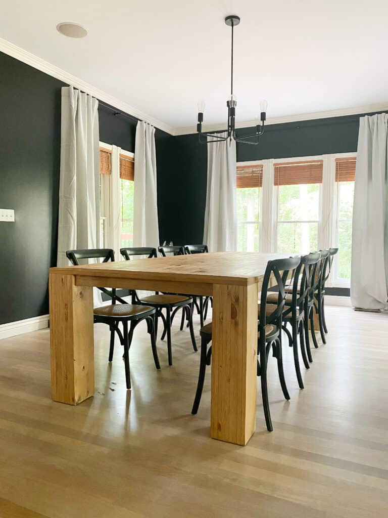 Large diy Dining table in navy room