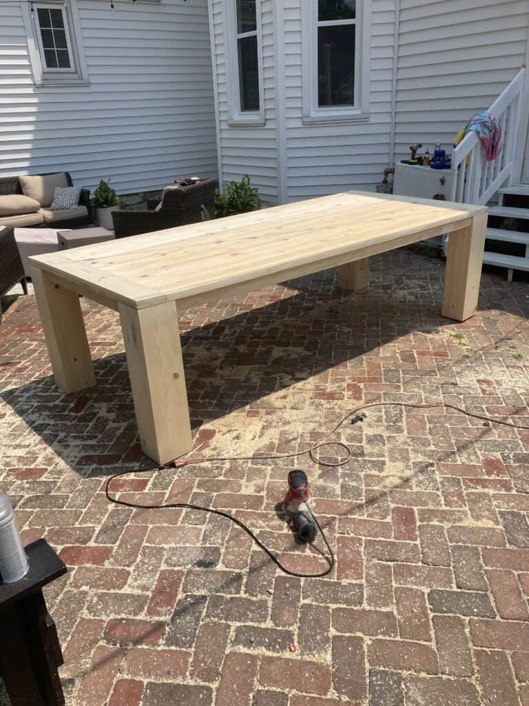 diy thick leg wood dining table