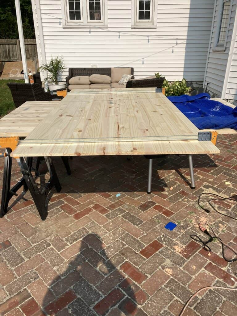 clamps on DIY Dining Table