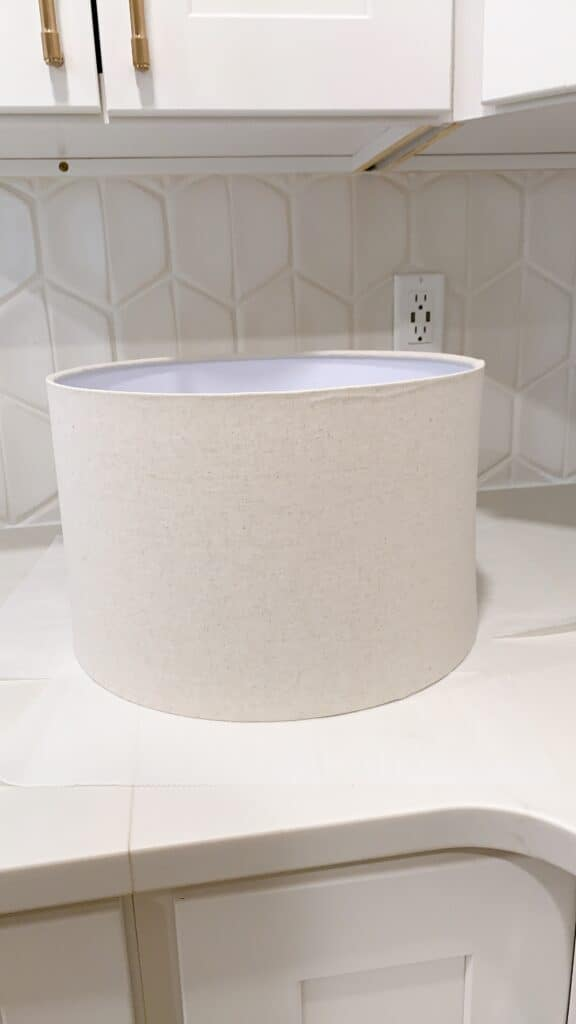 lamp shade on counter top