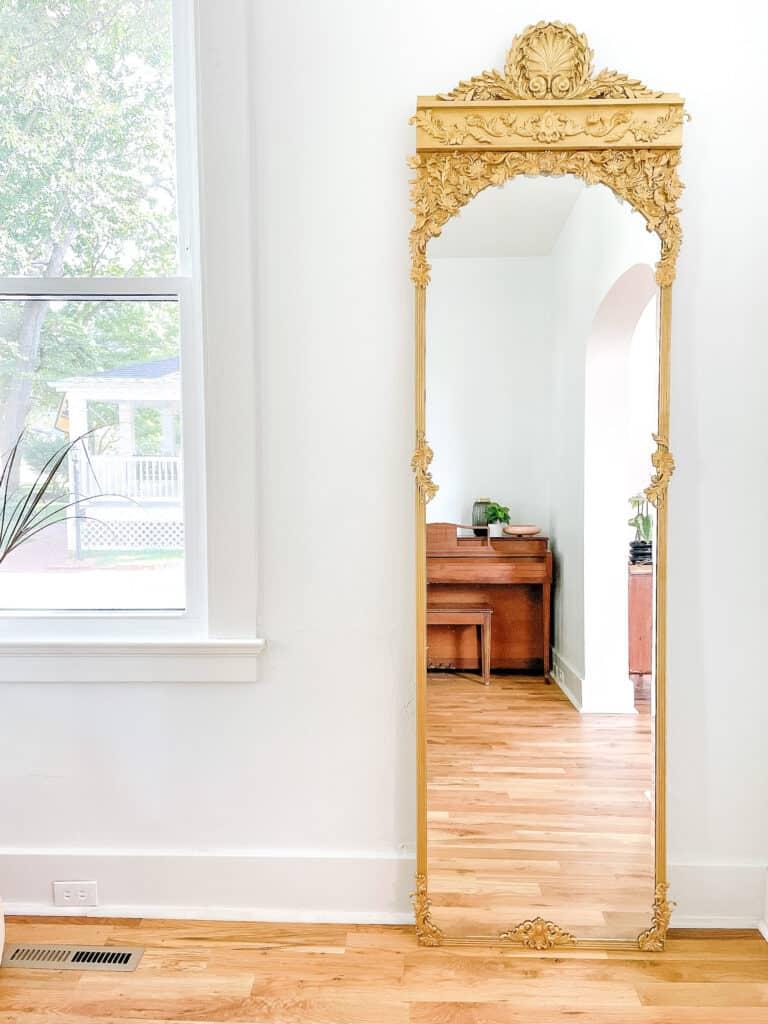 Gold mirror with DIY mirror Frame