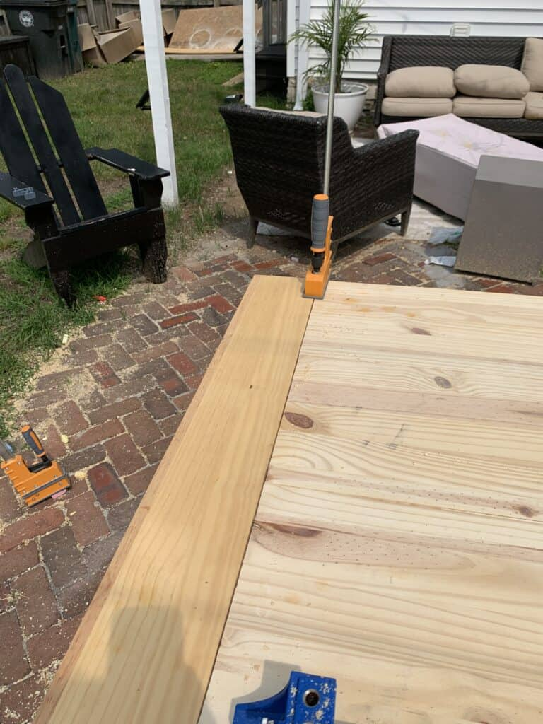 adding end pieces to DIY dining table top