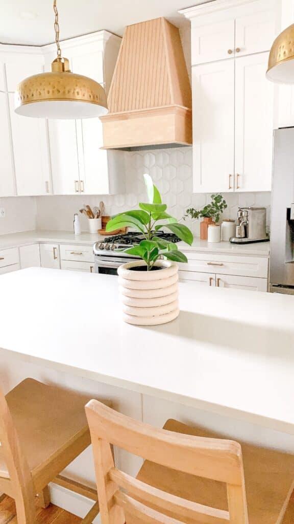 white kitchen with DIY Fluted vase
