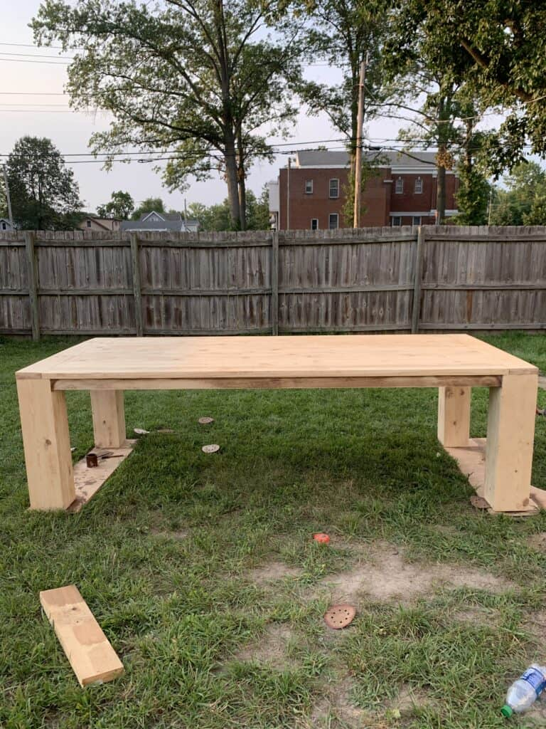 fully built dining table before stain