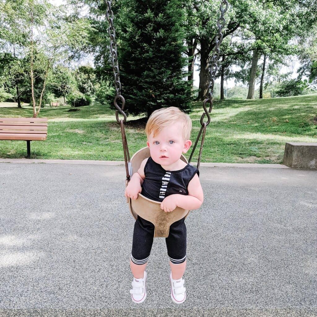 1 year old boy in swing