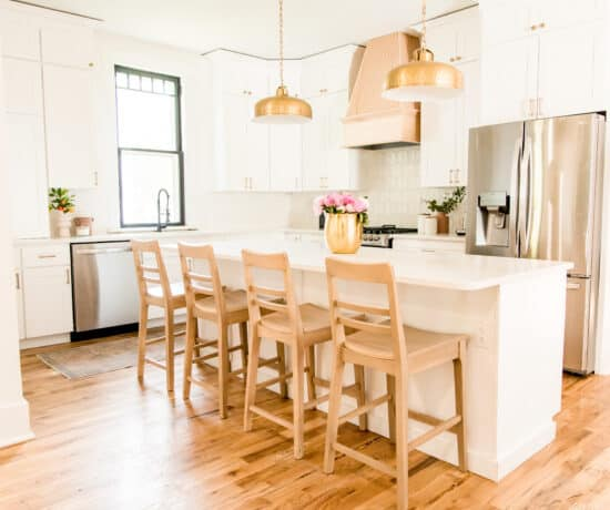 white kitchen with natural hood