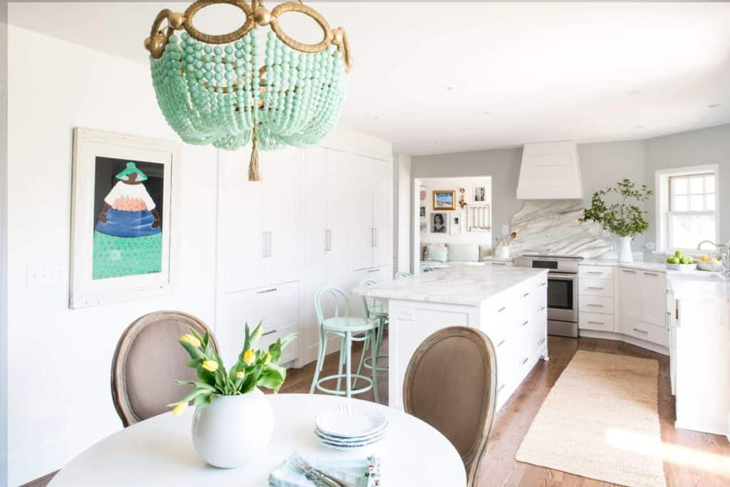 white kitchen with green light