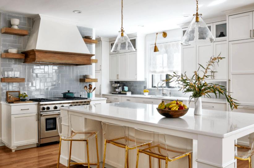 gorgeous blue backsplash in white kitchen