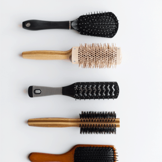 hairbrushes all lined up