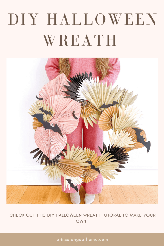 DIY Halloween Wreath with Palm Leaves