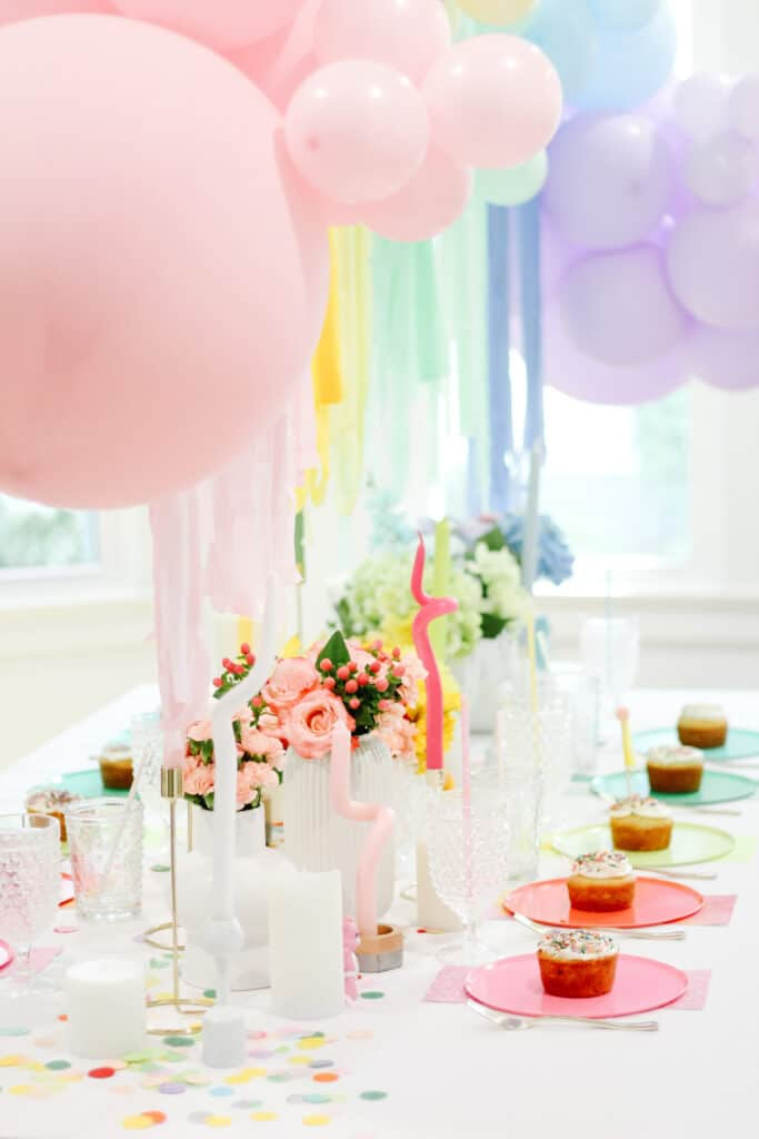 rainbow balloon tablescape