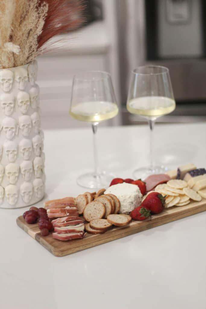 wine and charcuterie board