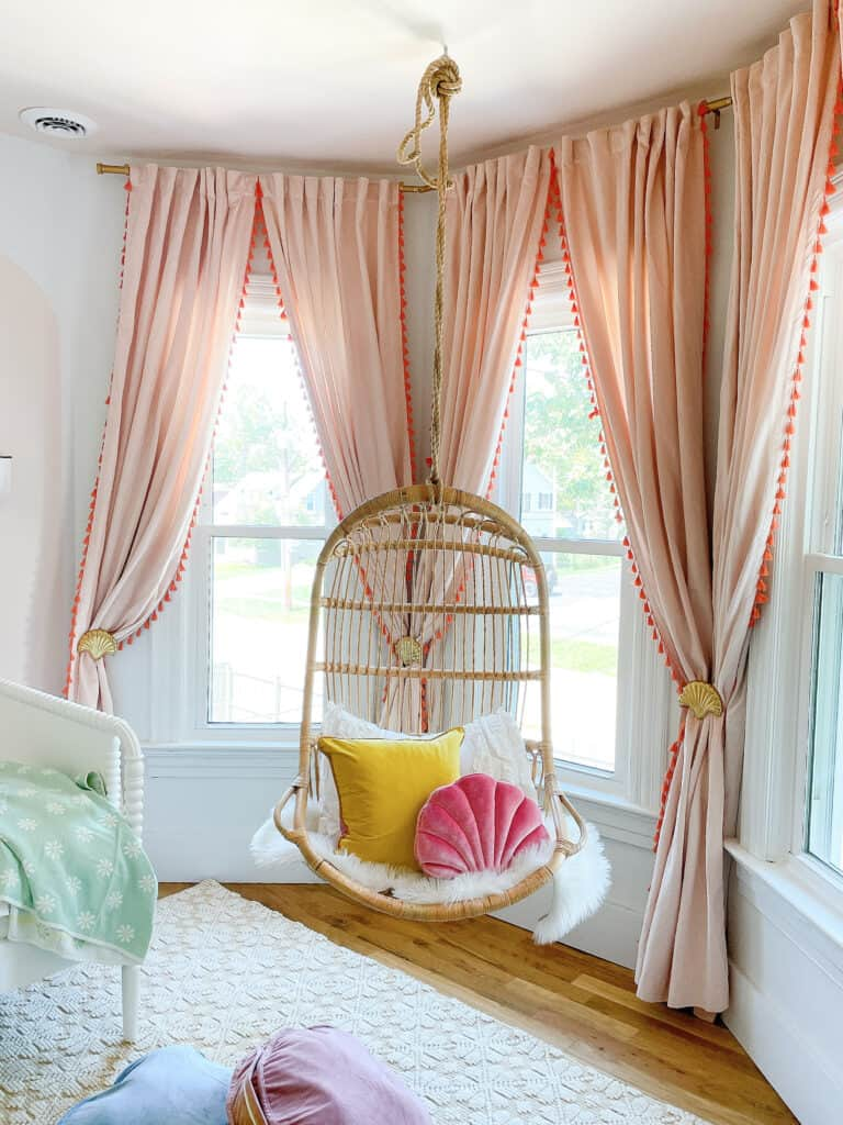 hanging chair in girls room
