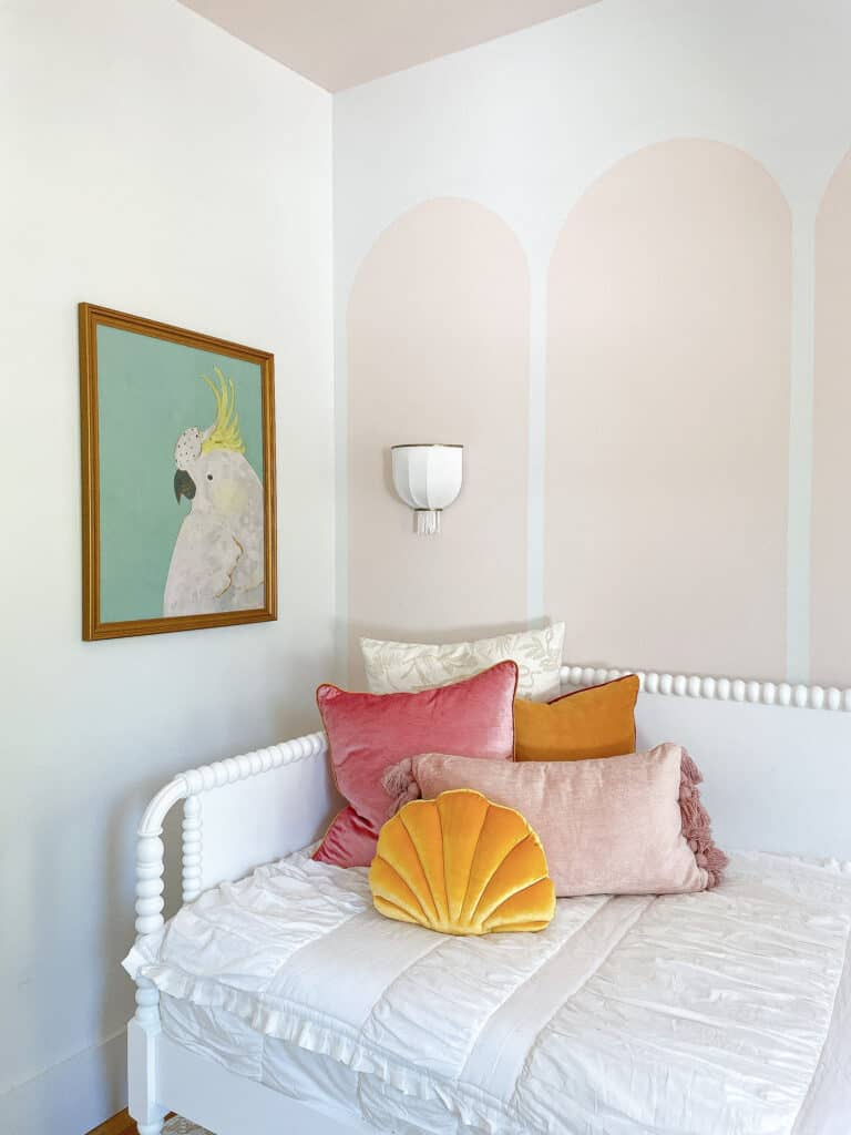 pink mustard and mint kids room