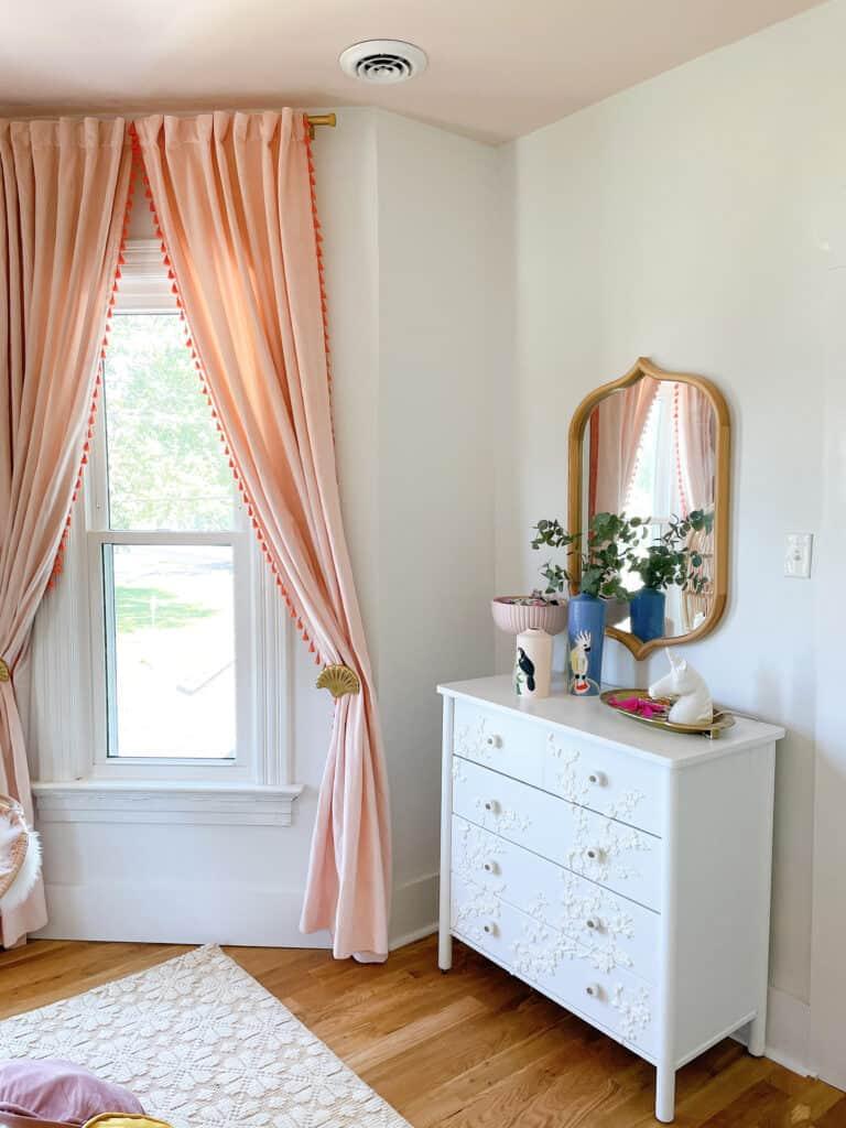 long pink velvet curtains