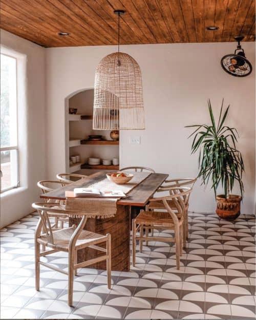 Boho Breakfast Nook with Tile Floor