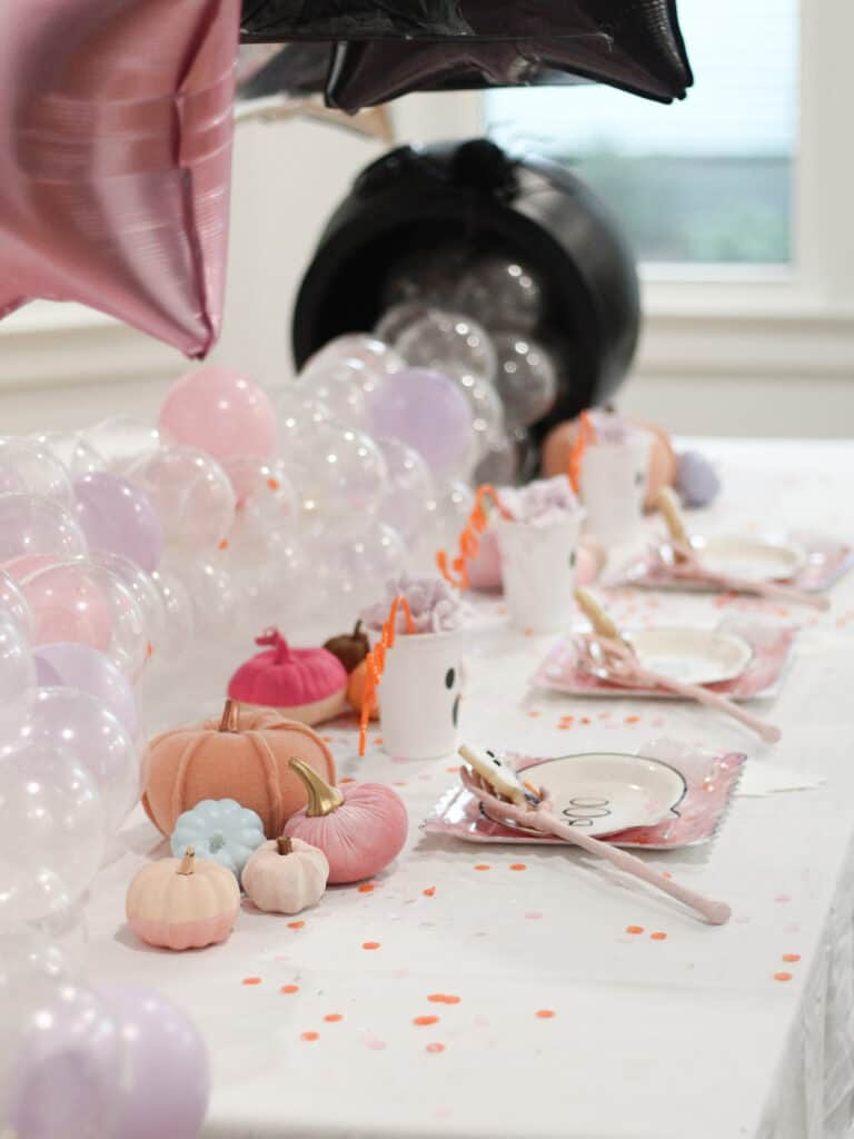 Kids Halloween Party Table in pink