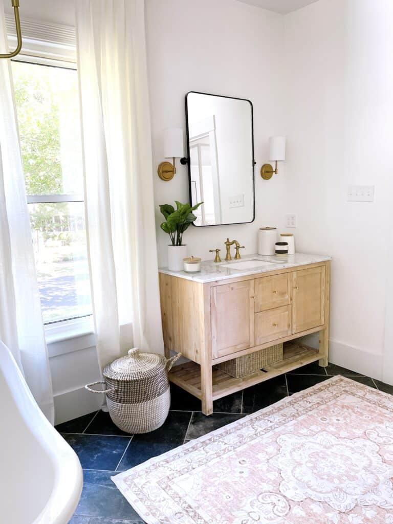 Cane Vanity in Master Bathroom