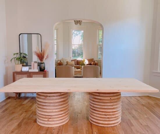 DIY Modern Dining table with pedestal base