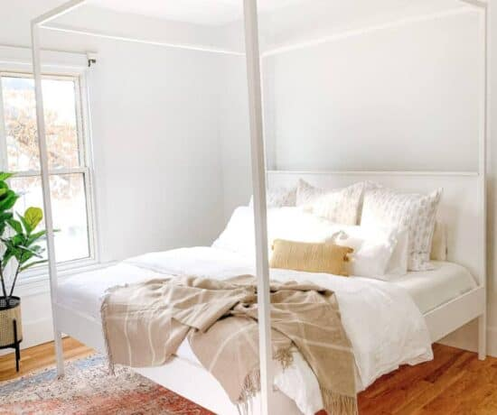 DIY Canopy bed in master bedroom